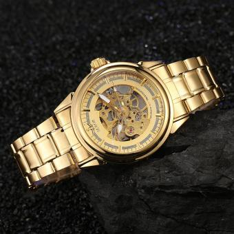Đồng hồ cơ nam dây thép không gỉ lộ máy SEWOR SE1081HT (Vàng)