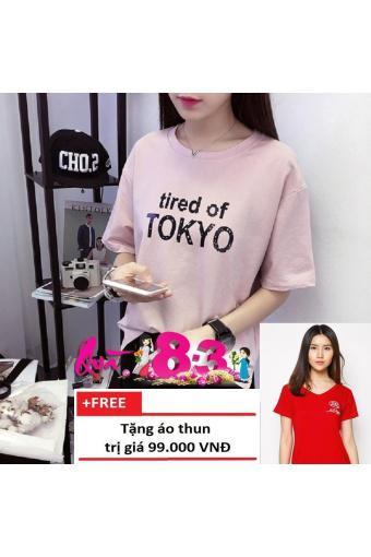 Áo thun nữ TOKYO cá tính T&D D124 (Hồng) + Tặng Áo Thun Nữ Cổ Tim BEE Dễ Thương (Hồng ) Trần Doanh