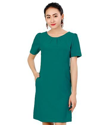 Đầm thời trang Sơn Nguyễn xếp ly ngực xinh xắn 2430-12 - Xanh