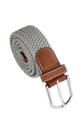 Leather Braided Elastic Stretch Metal Buckle Belt (Gray)