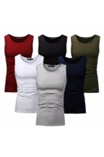 Men Shirts Simple Cotton Men's Sleeveless Vest Based Vest Primer Six Color For Choose (Army Green) -...