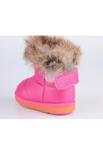 Child Girls Kids Winter Warm Booties Leather Rabbit Fur Shoes Snow Ankle Boots NEW - intl