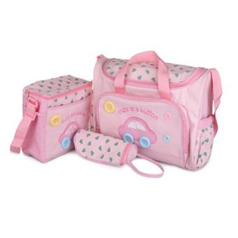 Bộ 3 túi xách cho mẹ và bé hình ôtô (Hồng)