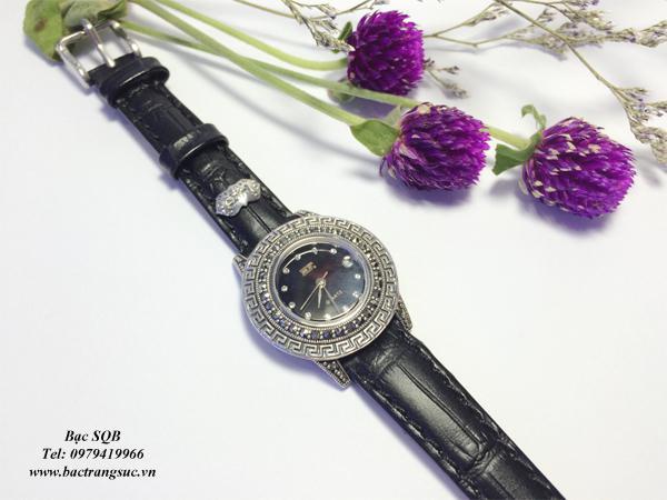 Đồng hồ mặt trống đồng dây da đen