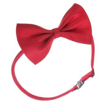 New Fashion Cute Dog Cat Pet Puppy Toy Kid Cute Bow Tie Necktie Collar Clothes A Purplish Red - Intl