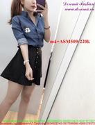 Áo sơ mi jean nữ tay dài in hình Mickey sành điệu ASM509