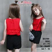 BG189 - Set áo sát nách màu đỏ + quần sooc ren màu đen cho bé gái 18th - 7 tuổi, 11 - 25kg, size 7 -...