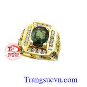 Nhẫn nam xanh chuối sapphire cao cấp