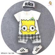Bộ thun in chú bé quần ca rô dễ thương cho bé trai 3 - 10 Tuổi BTB16219