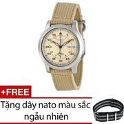 Đồng hồ nam dây dù Seiko 5 SNK803K1 (Vàng Kem) + Tặng 1 dây nato - Hàng nhập khẩu