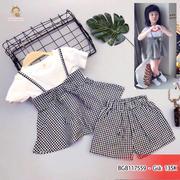 Set áo yếm peplum quần kate caro dễ thương cho bé gái 3 - 10 tuổi BGB117558