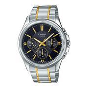 Đồng hồ Casio nam dây thép không gỉ (Dây bạc viền vàng mặt đen) - MTP-1375SG-1AVDF