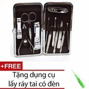 Bộ dụng cụ làm móng 12 món đa năng + Tặng dụng cụ lấy ráy tai cóđèn shopping