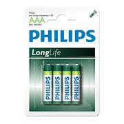 Vỉ 4 viên pin Philips LongLife AAA1,5V R03L4B/97 (Xanh lá cây)