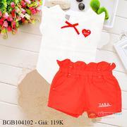 Bộ áo sơ mi quần kaki tim zara dễ thương cho bé gái 1 - 8 tuổi BGB104102