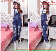 Quần yếm jean dài rách bụi xinh xắn đáng iu QYB73