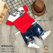 Set áo thun body phối màu thêu logo quần jean wash rách (không kèm nịch) dễ thương cho bé trai 1 -  ...