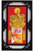 Lịch Khung Gỗ Nền Nhung Kim Kê Thịnh Vượng