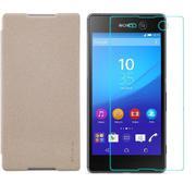 Bộ bao da Nillkin cho Sony Xperia M5 (Vàng) và 1 Kính cường lực cho Sony Xperia M5 (Trong suốt)-Hàng...