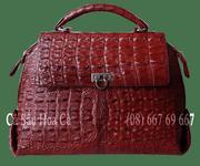 Túi xách nữ da cá sấu Hoa cà dạng gai lưng - 0116