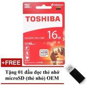 Thẻ nhớ MicroSDHC Toshiba Exceria 16GB Class 10 48MB/s New Box (Trắng Đỏ) + Tặng 01 đầu đọc thẻ nhớ ...