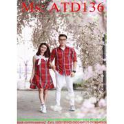 Sét đồ đôi áo sơ mi và đầm suông sọc màu nổi bật ATD136 - \ATD136newewww