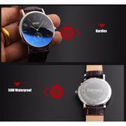 Đồng hồ nam dây da SKMEI DH9120 (Xanh lá thẫm)