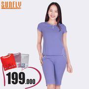 Bộ lửng mặc nhà cổ lá sen Sunfly (Oải hương) SP1305