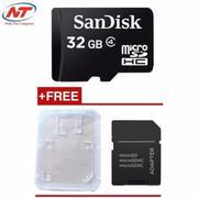 Thẻ nhớ MicroSDHC Sandisk 32GB Class 4 không box + Tặng 01 adapter và 01 hộp thẻ