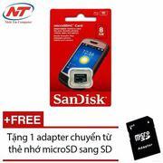 Thẻ nhớ MicroSDHC Sandisk 8GB Class 4 + Tặng 01 adapter microSD