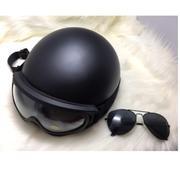 Mũ bảo hiểm 1/2 đen + kính phi công + kính chống tia uv (Đen)