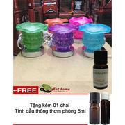 Bộ tinh dầu quế thơm phòng (10ml) và đèn xông tinh dầu điện cảm ứng TTN xanh lá + Tặng 1 chai tinh d...