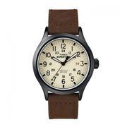 Đồng hồ Timex nam dây da lộn (Dây nâu mặt trắng) - T49963