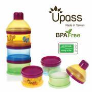 Hộp đựng sữa 3 ngăn bằng nhựa không BPA có bộ chia UPASS UP8011C