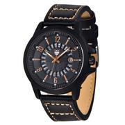 Đồng hồ nam dây da cao cấp Xinew 4234 (Mặt đen - số nâu)