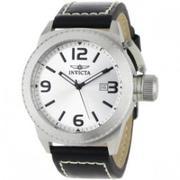Invicta Men's 1110 Corduba Collection Silver Dial Black Leather Watch