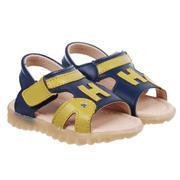 Sandal thêu chữ H xanh đen