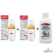 Bộ cặp Bình sữa Pigeon nhựa PPSU Plus cổ rộng 160ml + Nước rửa bình sữa chai Pigeon 200ml + Cọ rửa b...