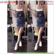 Váy yếm jean rách phong cách sành điệu QYB29