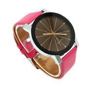 Men Quartz Dial Clock Leather Wrist Watch Round Case Hot pink