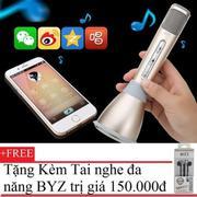 Micro thông minh K068 có Bluetooth karaoke tích hợp loa 3 trong 1(Vàng gold) + Tặng Tai nghe BYZ S38...