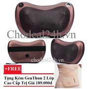 Gối mát-xa hồng ngoại Massage Pillow + Tặng Gen nịt bụng định hình eo thon 2 lớp thun (Da)