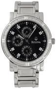 Bulova Diamond Black Mens Watch 96E04