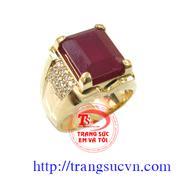 Nhẫn Nam Ruby vuông