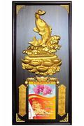 Lịch Khung Gỗ Nền Gỗ Kim Ngư Phú Quý
