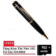 Bút viết camera HD vỏ sần (Vàng phối đen) + Tặng Thẻ nhớ 32GB
