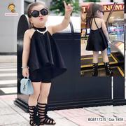 Set áo cổ yếm đính hạt quần poly ôm dễ thương cho bé gái 3 - 10 tuổi BGB117275