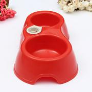 2 in 1 Pet Dog Puppy Automatic Water Dispenser Food Dish Feeder 2 Bowls Fountain Rose-red - Intl