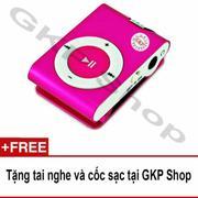 Máy nghe nhạc MP3 hỗ trợ thẻ nhớ - Hồng, Tặng tai nghe và cốc sạc