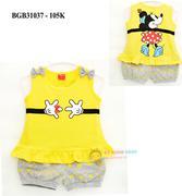 Đồ bộ thun cotton chuột Mickey 2 nơ dễ thương cho bé gái 1 - 8 tuổi BGB31037